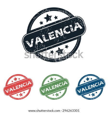 Set of four stamps with name Valencia and stars, isolated on white - stock photo