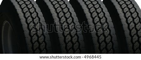 set of four tires cropped - stock photo