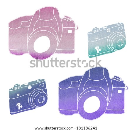 Set of Four Watercolor Cameras With Textured Hand Painted Watercolor Style - stock photo