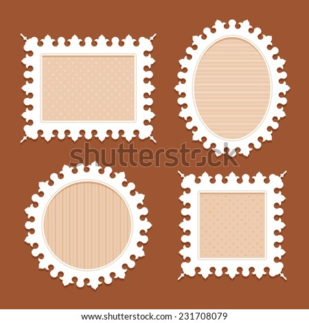 Set of four white vintage ornate frames of different shapes with carved toothed edge with beige substrates in the polka dots and horizontal and vertical stripes on a brown background - stock photo