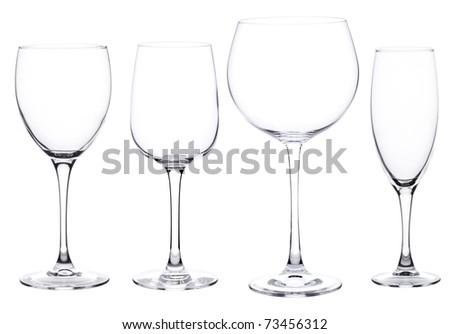 Set of four wine glasses isolated on white background - stock photo