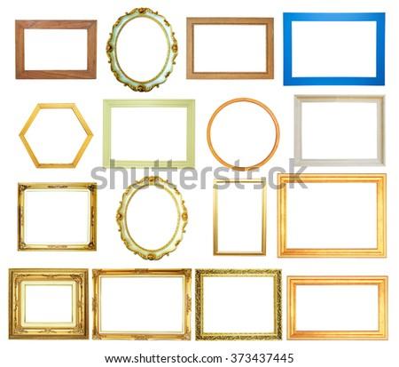 Set of frame isolated on white background - stock photo