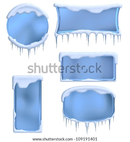 set of frames decorated with icicles and clouds as a symbol of winter holidays - stock photo