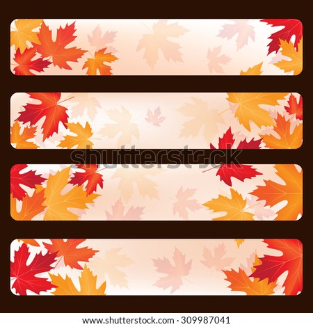 set of frames with autumn maple leaves