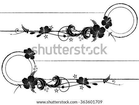 set of frames with hibiscus in black and white colors - stock photo