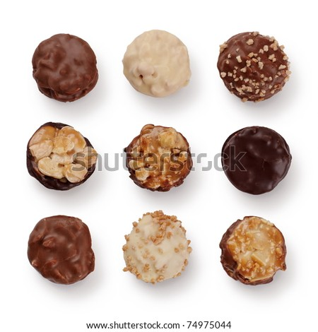 Set of french pralines isolated over a white background. - stock photo