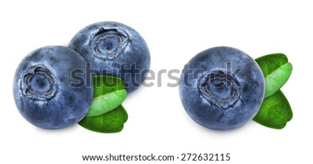 Set of fresh blueberries with green leaves isolated on white background - stock photo