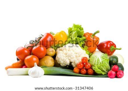 Set of fresh colorful vegetables - stock photo
