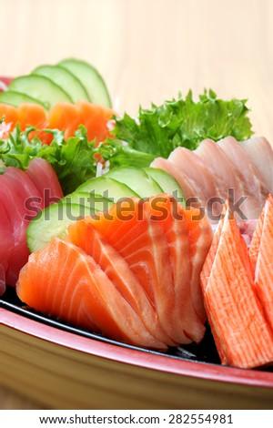 Set of fresh Fish sashimi, salmon and tuna - stock photo