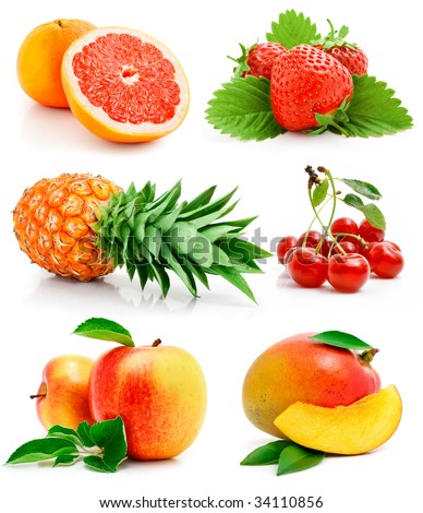 set of fresh fruits with green leaves isolated on white background - stock photo