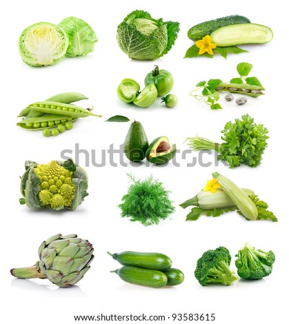 Set of fresh green vegetables isolated on white background - stock photo