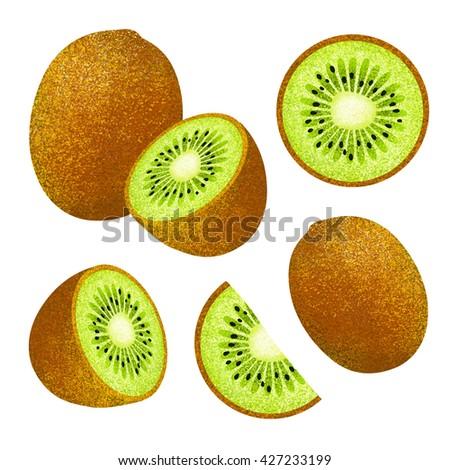 Set of fresh ripe kiwi. Different styles of kiwi on white background.Composition of Kiwi on white background. Kiwi icon, fruit set. Juicy Kiwi. - stock photo