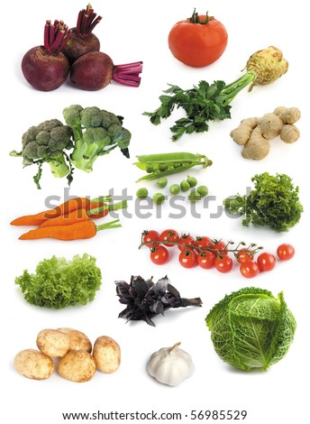 set of fresh vegetables isolated on a white background - stock photo