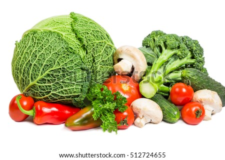 Set of fresh vegetables on white background, isolated on white