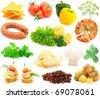 set of fresh vegetables over white background - stock photo