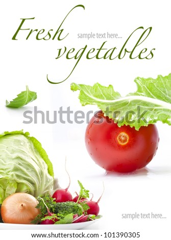 Set of fresh vegetables with green leaf isolated on white background (with sample text) - stock photo