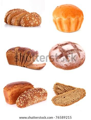 Set of fresh wheat bread - stock photo