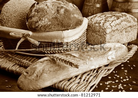 Set of freshly baked bread in sepia tone