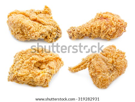 Set of fried chicken isolated on white background - stock photo