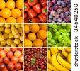 set of fruit backgrounds - stock photo