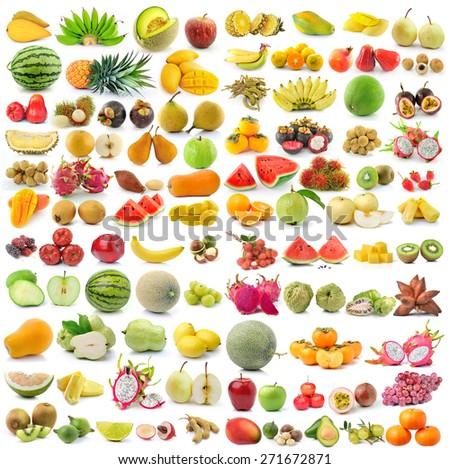 set of fruit isolated on white background - stock photo