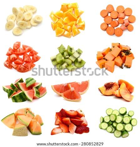 Set of fruit slices eating - stock photo