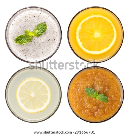 Set of fruit smoothie and fruit juice in glasses isolated on white background - stock photo