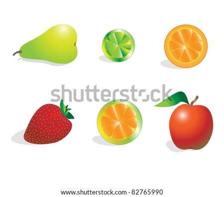 Set of fruits - stock photo