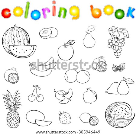 Set of fruits and berries coloring book. Illustration