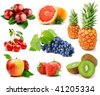 set of fruits and berries isolated on white background - stock photo