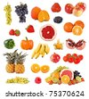 Set of fruits and vegetable on white background - stock photo