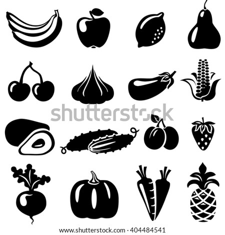 Set of fruits and vegetables: banana, apple, lemon, pear, cherry, pineapple, corn, avocado, cucumber, plum, strawberry, beets, radish, carrots, pumpkin. Fruits and vegetables Icons illustration