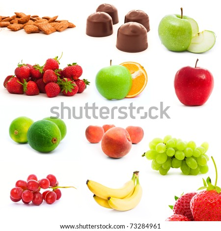 set of fruits and vegetables isolated on white - stock photo