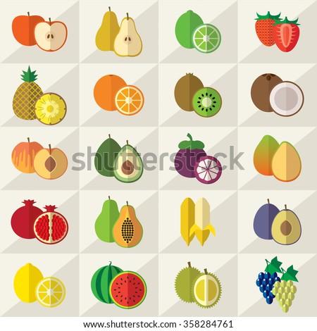 Set of fruits flat  illustration - stock photo