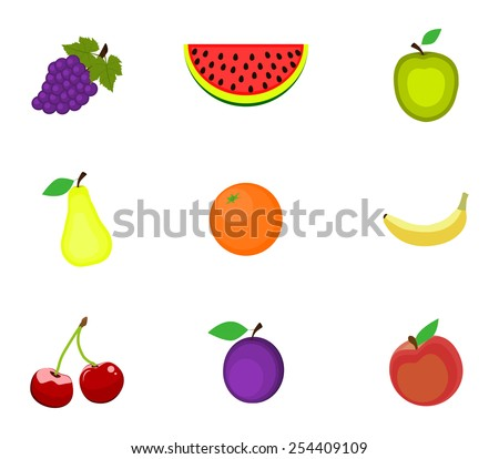 Set of fruits on a white background - stock photo