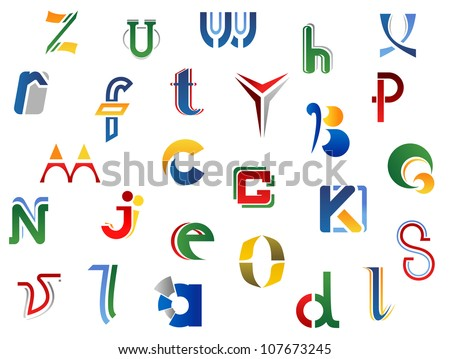 Set of full alphabet letters and icons for alphabet design, such a logo. Vector version also available in gallery