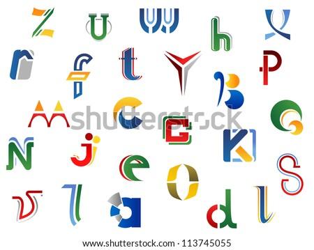 A Alphabet Design Set of full alphabet letters and icons for alphabet design, such a ...