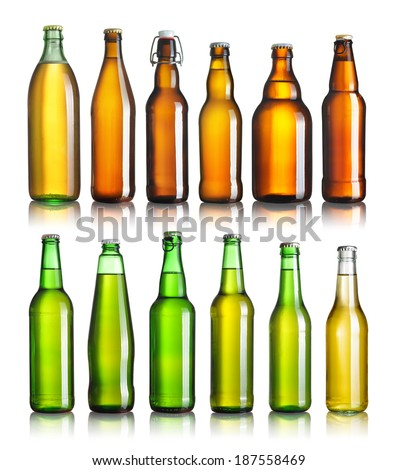 Set of full beer bottles with no labels isolated on white - stock photo