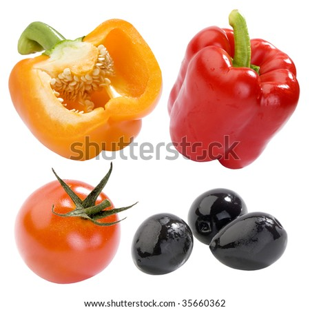 set of full-size images: yellow and red peppers, red tomato and  black olives isolated on white background - stock photo