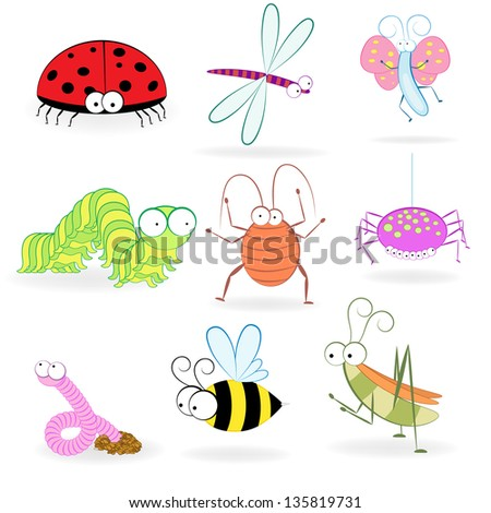 Set of funny cartoon insects. - stock photo