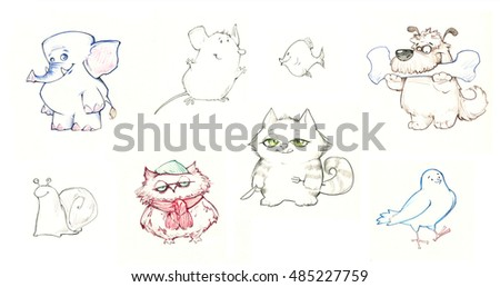 Set of funny cartoon pencil drawn animals, elephant, owl, cat, dog, pigeon, fish, mouse, snail