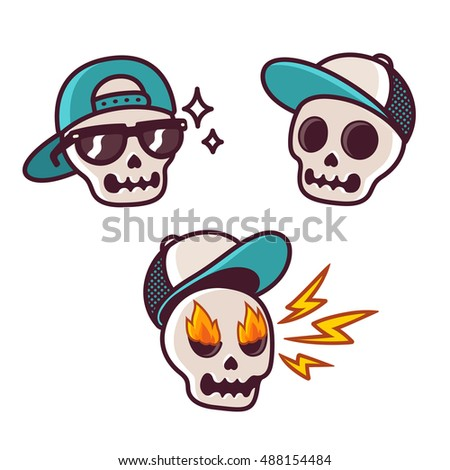 Set of funny cartoon skull character in baseball cap cool skull with sunglasses angry