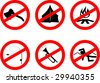 Set of funny disabling red signs with black silhouettes. Vector version also available. - stock photo