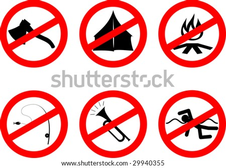 Set of funny disabling red signs with black silhouettes. Vector version also available.