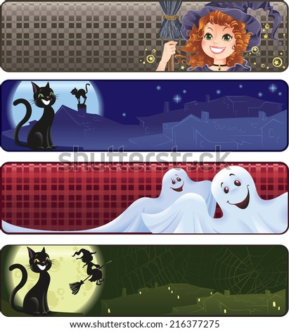 Set of funny Halloween banners.   - stock photo