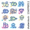 set of funny hand drawn zodiac signs - stock vector
