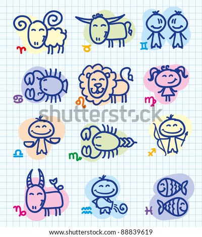 set of funny hand drawn zodiac signs - stock photo