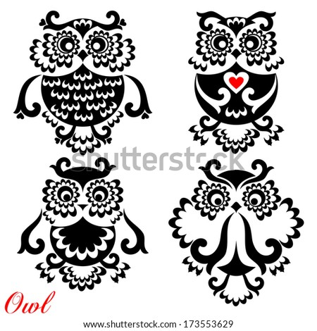 Set of funny Owls on white background. Raster Version.