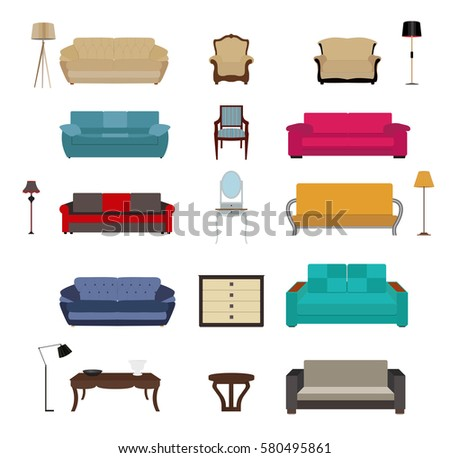 Büromöbel clipart  Set Furniture Modern Flat Style Vector Stock Vector 536590813 ...