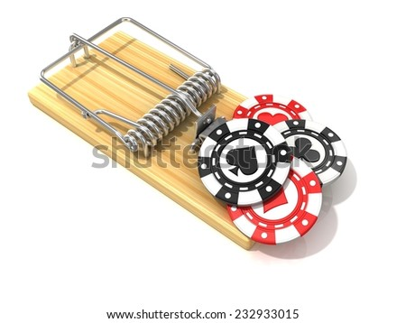Set of gambling casino chips, like bait, in wooden mousetrap. 3D rendering illustration, isolated on white background.  - stock photo